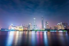 Piękna Guangzhou linia horyzontu przy nocą Fotografia Royalty Free