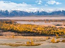 Piękna halna dolina w jesieni zdjęcia stock