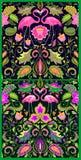 Piękna Hawajska bezszwowa tapety różnica z egzotów kwiatami, tropikalnymi liśćmi i różowym flamingiem dla dywanu, tkanina ilustracja wektor