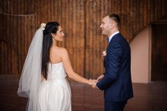 Piękna i młoda para małżeńska trzyma jeden anothers ręki obraz royalty free