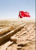 Piękna i seksowna szczupła kobieta, czerwieni suknia w pustyni Zdjęcie Stock