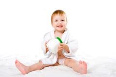 piękna inbathrobe dziecko słoika z tworzywa sztucznego obraz stock