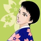 Piękna japońska kobieta jest ubranym menchie i fiołka Zdjęcia Stock