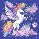 Piękna jednorożec wśród chmur i gwiazd ilustracji