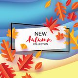 Piękna jesień w papieru cięcia stylu Origami liście Cześć jesień septyczny ośmiornica Prostokąt rama dla teksta origami ilustracja wektor