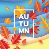 Piękna jesień w papieru cięcia stylu Origami liście Cześć jesień septyczny ośmiornica Prostokąt rama dla teksta origami royalty ilustracja