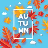 Piękna jesień w papieru cięcia stylu Origami liście Cześć jesień septyczny ośmiornica Prostokąt rama dla teksta origami ilustracji