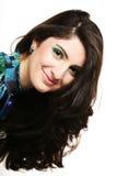 piękna kędzierzawego włosy długa uzupełniająca kobieta Zdjęcie Stock