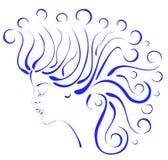 piękna kędzierzawego włosy profilu sylwetki kobieta Zdjęcie Royalty Free