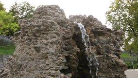 Piękna kamienna siklawy fontanna w ogródzie Spada wodny zbliżenie zbiory wideo
