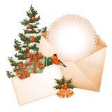 8 piękna karciana bożych narodzeń eps kartoteki ilustracja zawrzeć drzewnego rocznika Obraz Royalty Free