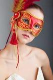 piękna karnawału maski czerwień target2633_0_ kobiety potomstwa Zdjęcia Royalty Free