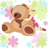 Piękna karta: dziewczyna z zabawkarskim niedźwiedziem Obraz Royalty Free
