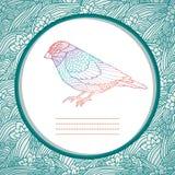 Piękna karta z ręka rysującym ptakiem Fotografia Stock