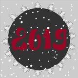Piękna kartka bożonarodzeniowa z choinką i płatek śniegu, Choinki ramy okrąg wektor royalty ilustracja
