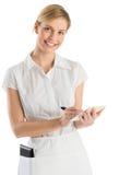 Piękna kelnerka Z rozkazu piórem I ochraniaczem Zdjęcia Stock