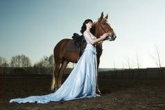 piękna końska jeździecka kobieta Obrazy Royalty Free