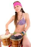 Piękna kobieta bawić się bongo studia strzał Zdjęcie Stock