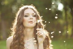 Piękna kobieta dmucha dandelion Zdjęcia Stock