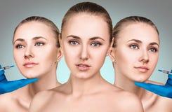 Piękna kobieta dostaje pięknu twarzowych zastrzyki Obraz Stock