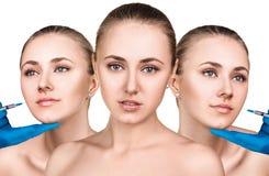 Piękna kobieta dostaje pięknu twarzowych zastrzyki Fotografia Royalty Free