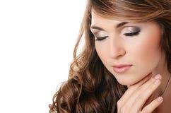 Piękna kobieta. Fotografia piękna zmysłowa kobieta z długie włosy Zdjęcia Stock