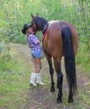 Piękna kobieta i koń Obrazy Royalty Free