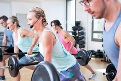 Piękna kobieta mężczyzny grupa robi sportowi w gym obraz stock