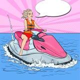 Piękna kobieta na Dżetowej narcie rywalizacje target698_1_ basenu bawją się dopłynięcie wodę Wystrzał sztuki ilustracja Zdjęcie Royalty Free