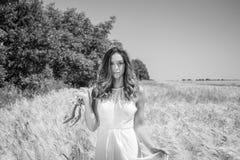Piękna kobieta, panna młoda chodził przez kukurydzanego pola mienia srebra butów na pogodnym lata ` s dniu obrazy royalty free