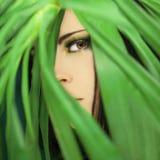 Piękna kobieta patrzeje przez dżungli palmy opuszcza, perfect skóra i perfect uzupełniał fotografia royalty free