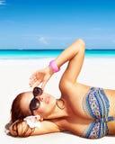 piękna kobieta plażowa zdjęcie royalty free