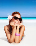 piękna kobieta plażowa obrazy royalty free