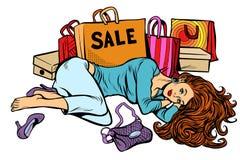 Piękna kobieta po sprzedaży Dziewczyna jest zmęczona i spokojna ilustracji