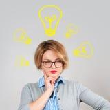 Piękna kobieta pomysł Procesu podejmowania decyzji pojęcie Obraz Stock