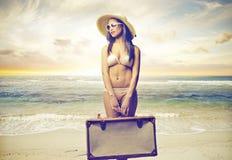 Piękna kobieta przygotowywająca opuszczać Fotografia Stock