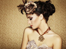 Piękna kobieta retro portret. Rocznika styl Obrazy Royalty Free