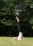 Piękna kobieta robi joga ćwiczeniom Obrazy Royalty Free