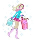 Piękna kobieta robi zakupy w zimie Obrazy Stock