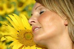 piękna kobieta słonecznikowa Zdjęcie Royalty Free