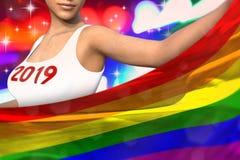 Piękna kobieta trzyma Gay Pride flagę w przodzie na partyjnych światłach - bożych narodzeń i 2019 3d nowego roku pojęcia chorągwi ilustracja wektor
