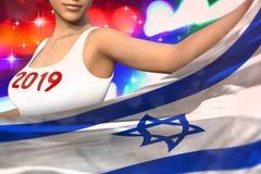 Piękna kobieta trzyma Izrael flagę w przodzie na partyjnych światłach - bożych narodzeń i 2019 3d nowego roku pojęcia chorągwiana ilustracji