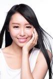 Piękna kobieta uśmiechu twarz Obraz Stock
