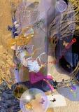 Piękna kobieta unosi się wśród abstrakcjonistycznych przedmiotów royalty ilustracja