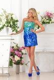 Piękna kobieta w błękit sukni w luksusowym wnętrzu. zdjęcia royalty free