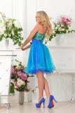 Piękna kobieta w błękit sukni w luksusowym wnętrzu. fotografia royalty free