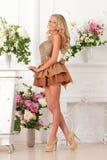 Piękna kobieta w brąz sukni w luksusowym wnętrzu. zdjęcia stock
