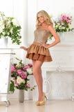 Piękna kobieta w brąz sukni w luksusowym wnętrzu. fotografia royalty free