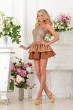 Piękna kobieta w brąz sukni w luksusowym wnętrzu. obraz royalty free