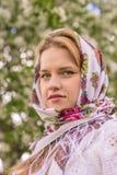 Piękna kobieta w chustka na głowę Fotografia Royalty Free
